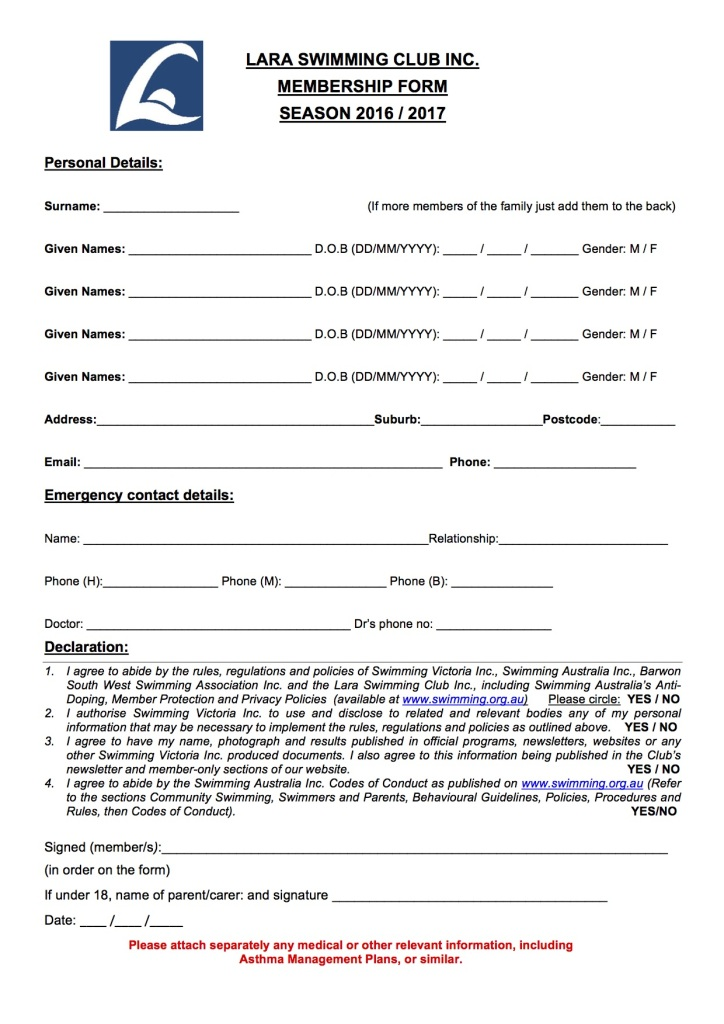 LSC membership form 2016 to 2017