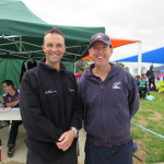 Lara District Community Bank Branch Manager, Damien Foster with Lara Swimming Club President, Scott Thompson