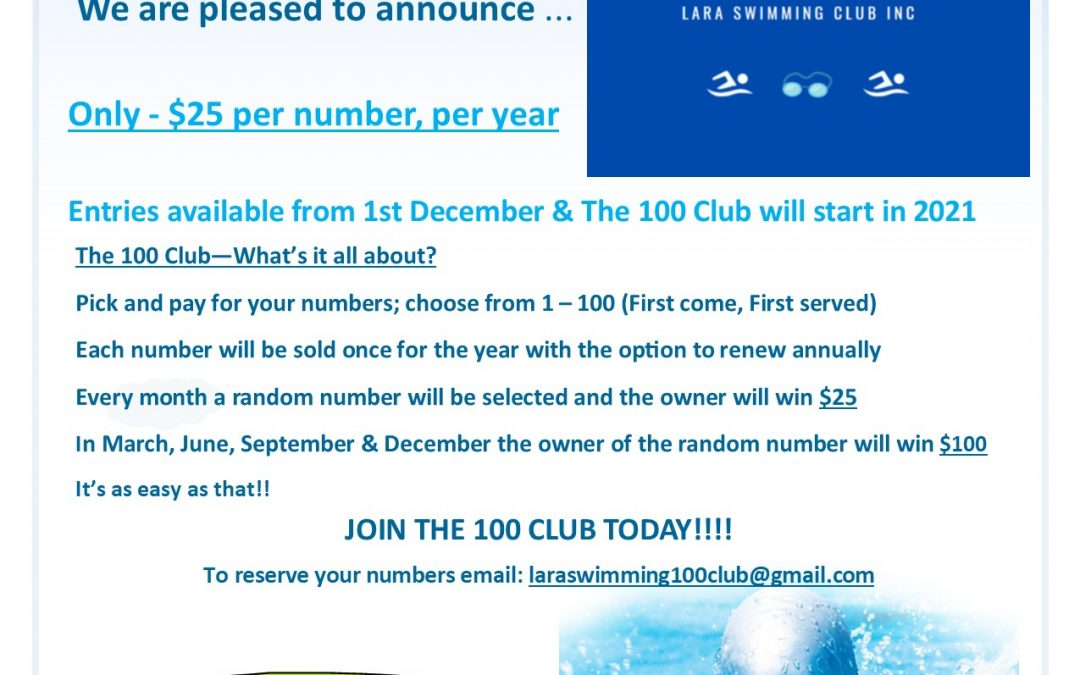 The 100 Club – Get Your Lucky Numbers Now!!